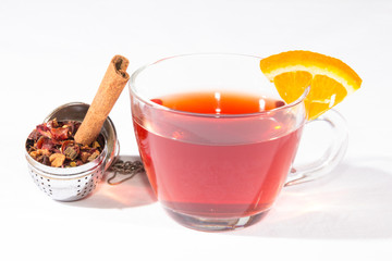 Fruit Tea With Tea Egg, Cinnamon And A Slice Orange