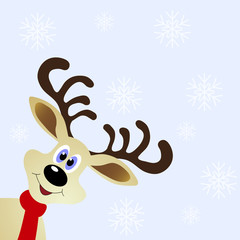 Funny deer on winter background