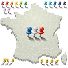 France 3D - départements épingles