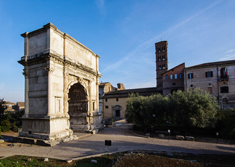 Arch of Titus triumphal arch in Rome Italy