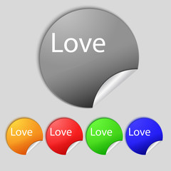 Love you sign icon. Valentines day symbol. Set of colored