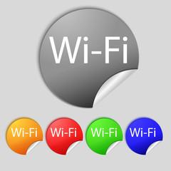 Free wifi sign. Wi-fi symbol. Wireless Network icon Set of