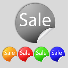Sale tag. Icon for special offer. Set of colored buttons. Vector