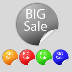 Big sale sign icon. Special offer symbol. Set of colored buttons