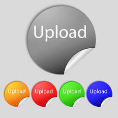 Upload sign icon. Load symbol. Set of colored buttons. Vector