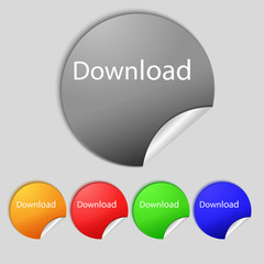 Download now icon. Load symbol. Set of colored buttons. Vector