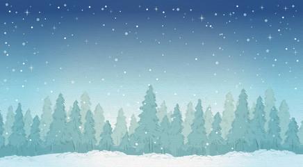 Vintage winter night forest landscape.