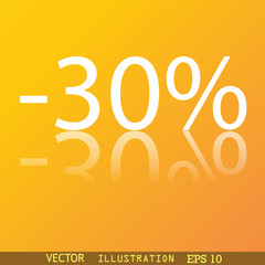 30 percent discount icon symbol Flat modern web design with