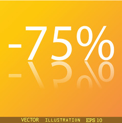 75 percent discount icon symbol Flat modern web design with