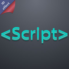 Script icon symbol. 3D style. Trendy, modern design with space