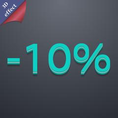 10 percent discount icon symbol. 3D style. Trendy, modern design