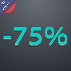 75 percent discount icon symbol. 3D style. Trendy, modern design