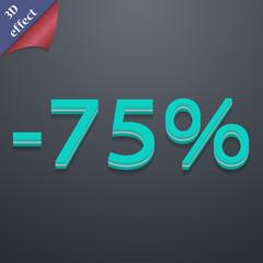 75 percent discount icon symbol. 3D style. Trendy, modern design