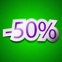 50 percent discount icon sign. Symbol chic colored sticky label