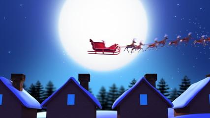 Santa Claus and Deers