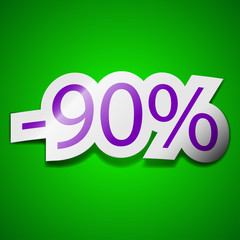 90 percent discount icon sign. Symbol chic colored sticky label