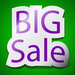 Big sale icon sign. Symbol chic colored sticky label on green