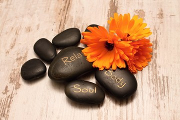 Lava stones and marigold