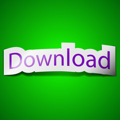 Download now icon sign. Symbol chic colored sticky label on