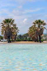 Wasserbecken und Palmen am Strand von Port Leucate