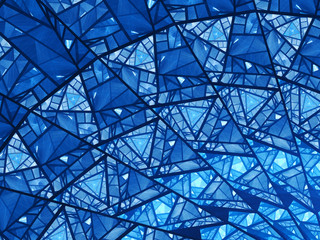 Blue glowing stained glass fractal