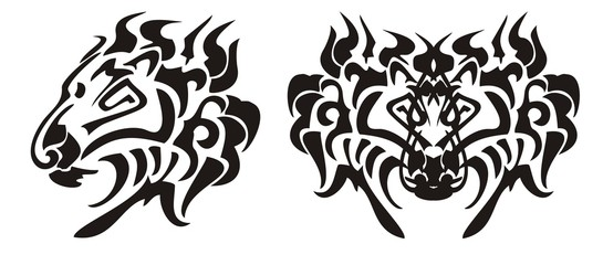 Lion head in tribal style. Black on the white