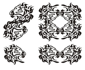 Tribal lion head symbols. Black on the white