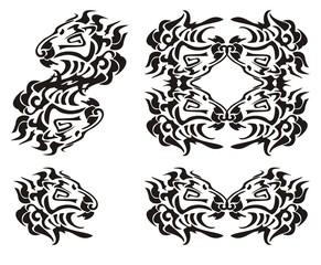 Tribal lion head symbols. Black on the white