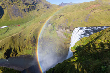 Iceland, Skogafoss waterfall with rainbow, view from above