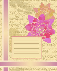 Scrap Cover for notebook with text background and pink flower
