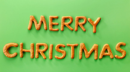 Gingerbread words Merry Christmas