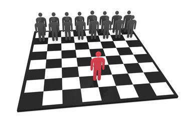 Abstract man stands on a chessboard before opposing team