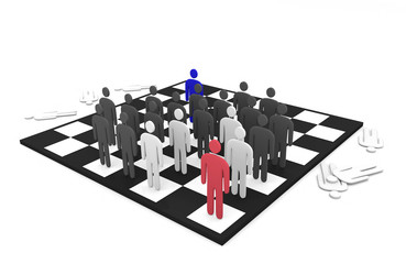 Two abstract men teams battle on a chessboard