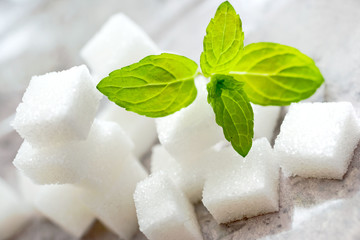 white sugar cubes with fresh mint