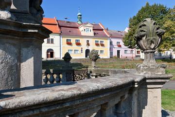 Great square, Zlutice town, West Bohemia, Czech republic
