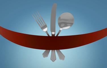 Posate, menu, ristorante, stoviglie