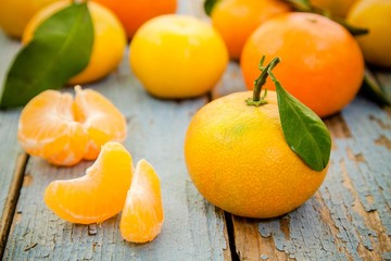 fresh organic mandarins  with leaves