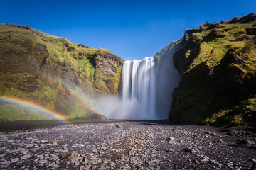 Skogafoss waterfall in Iceland, natural wonder, landscape