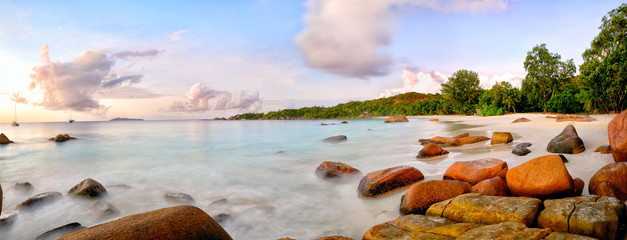 Anse Lazio beach panorama at sunset, Praslin, Seyshelles