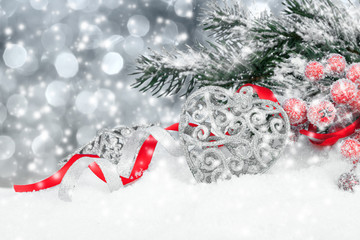 Christmas decoration over snow