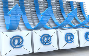E-mail envelopes and arrows background