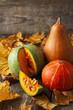 Three pumpkins of different colors and a piece of pumpkin on woo