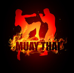 Thai boxer standing with knee postures on fire muay thai typo