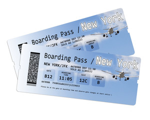 Airline boarding pass tickets to New York isolated on white