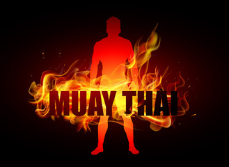 Thai boxer standing on fire muay thai typo
