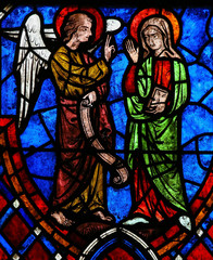 The Annunciation Stained Glass in Cathedral of Tours, France