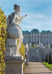 Vienna - Statue in gardens of Belvedere palace in evening