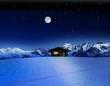 canvas print picture - Schihütte bei Mondschein im Gebirge