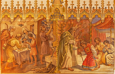 Moses and Aron, and Israelites at Pesach supper