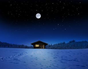 Schihütte bei Mondschein